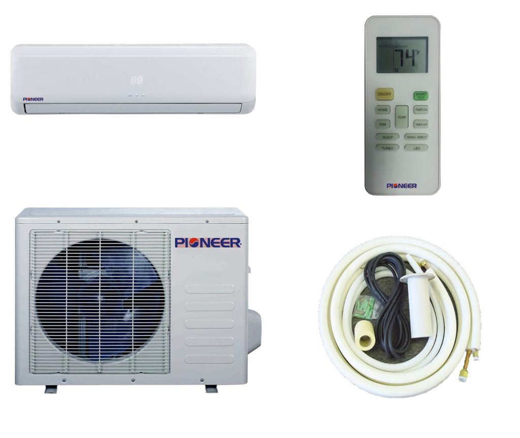 Pioneer Ductless Wall Mount Mini Split Inverter Air Conditioner With Heat Pump 12000 Btu 1 Ton