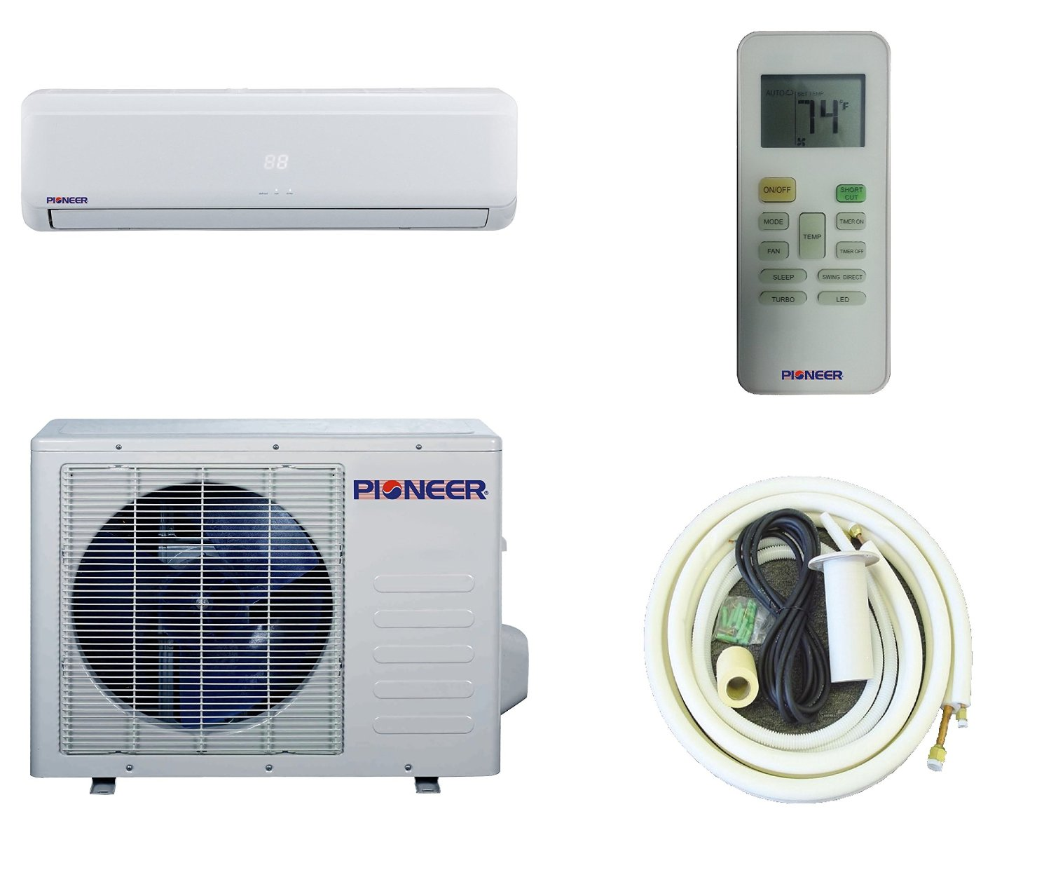 pioneer ductless wall mount mini split inverter air conditioner with